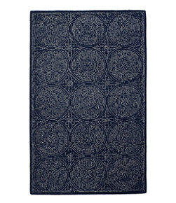 Floral Circle Wool Tufted Rug, Navy
