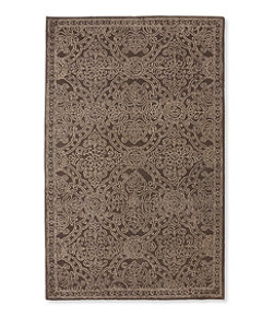 Scroll Leaf Wool Tufted Rug, Mocha