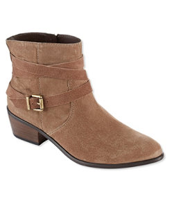 Signature Mid-Heel Ankle Booties, Suede