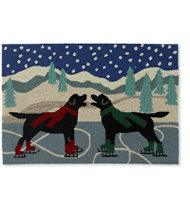 Indoor/Outdoor Vacationland Rug, Skate Pond Dogs