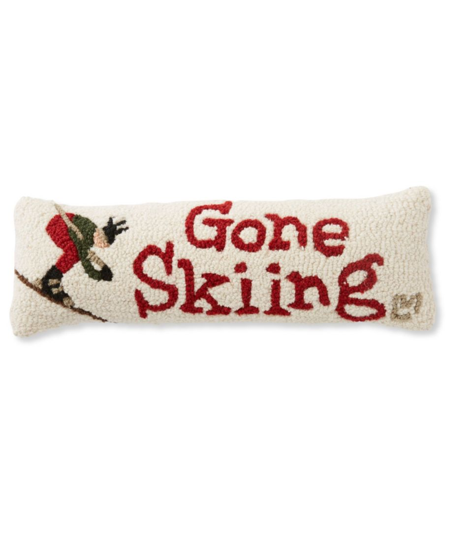 Wool Hooked Throw Pillow, Gone Skiing