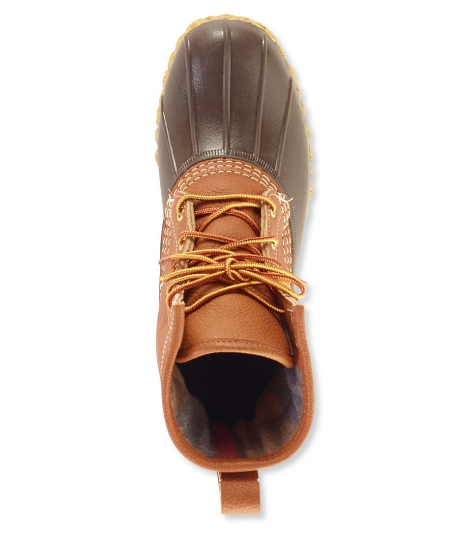"""Men's Tumbled-Leather 8"""" Bean Boots, Chamois-Lined"""