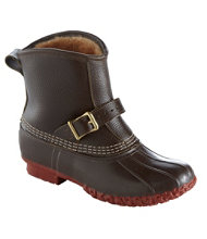 "Women's Small Batch Tumbled-Leather L.L.Bean Boots, 7"" Shearling-Lined Lounger"