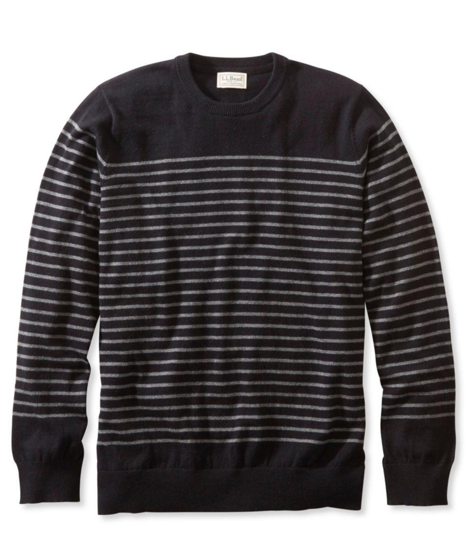 Cotton/Cashmere Sweater, Crewneck Stripe