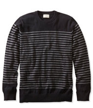 Cotton/Cashmere Sweater, Crewneck Stripe