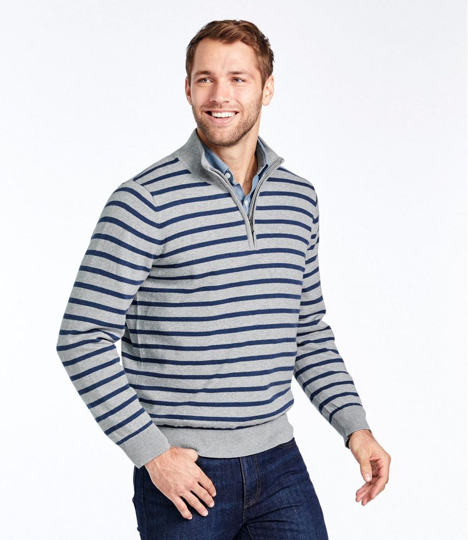 Cotton/Cashmere Sweater, Quarter-Zip Stripe