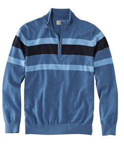 Men's Cotton/Cashmere Sweater, Quarter-Zip Stripe