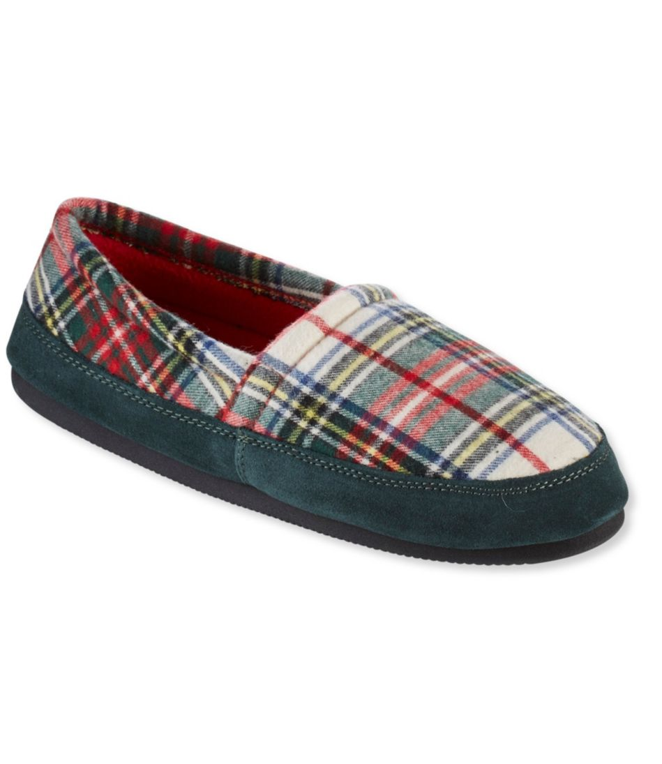 Mountain Lodge Slippers, Fleece-Lined Flannel Plaid