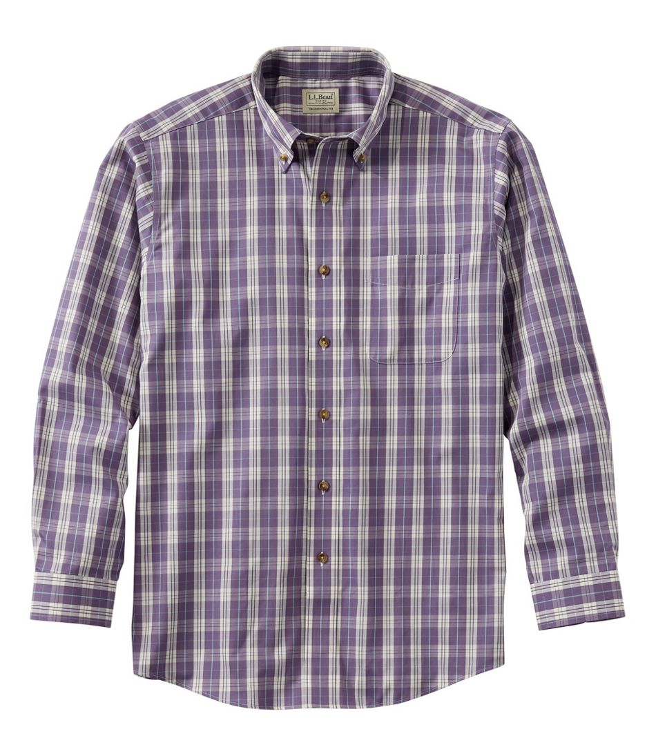 Wrinkle-Free Twill Sport Shirt, Traditional Fit Plaid