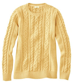 Double L Mixed-Cable Sweater, Crewneck