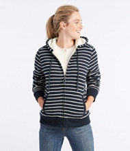 Sweater-Trimmed Sherpa-Lined Hoodie, Stripe
