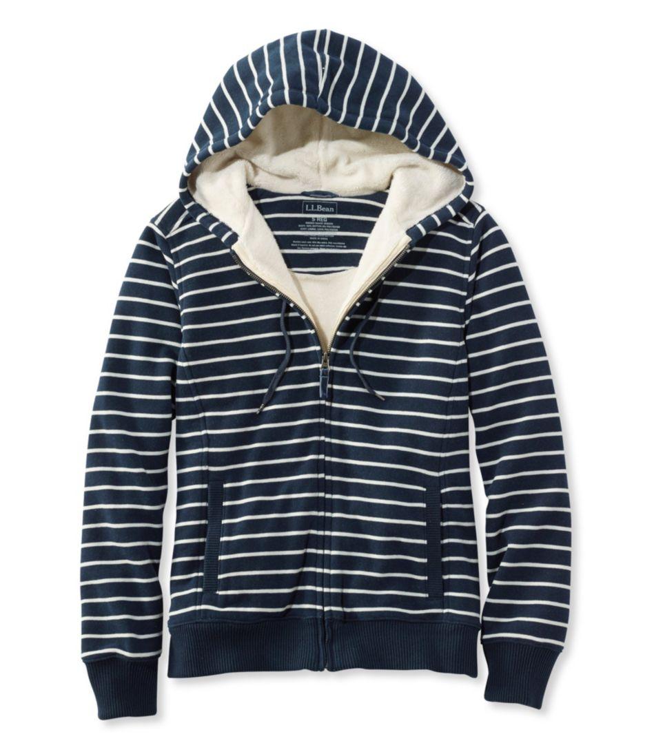 Sweater-Trimmed Sherpa-Lined Hoodie, Stripe