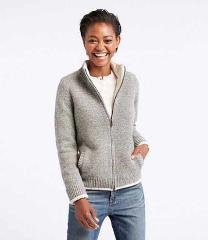 Women's L.L.Bean Classic Ragg Wool Sweater, Sherpa-Lined Zip ...