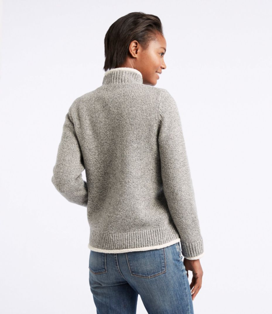 L.L.Bean Classic Ragg Wool Sweater, Sherpa-Lined Zip Cardigan
