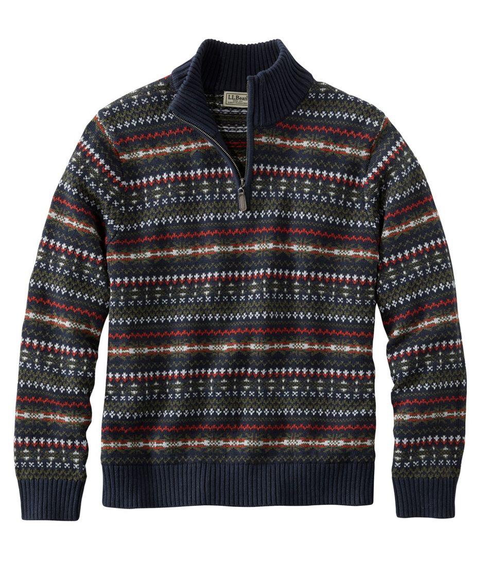 Men's Double L Cotton Sweater, Quarter-Zip Fair Isle
