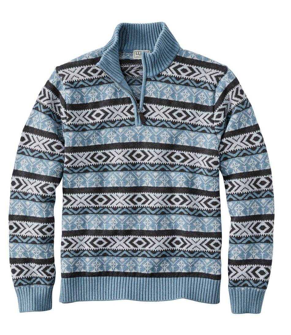 Double L Cotton Sweater, Quarter-Zip Fair Isle