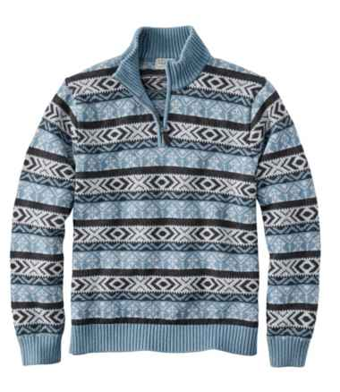 Men's Double L Cotton Sweater, Quarter-Zip Fair Isle