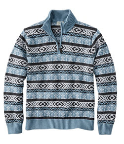 Double L® Cotton Sweater, Quarter-Zip Fair Isle