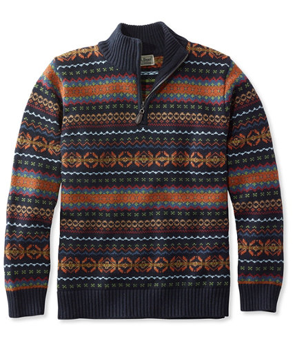 Men's Double L Cotton Sweater, Quarter-Zip Fair Isle | Free ...