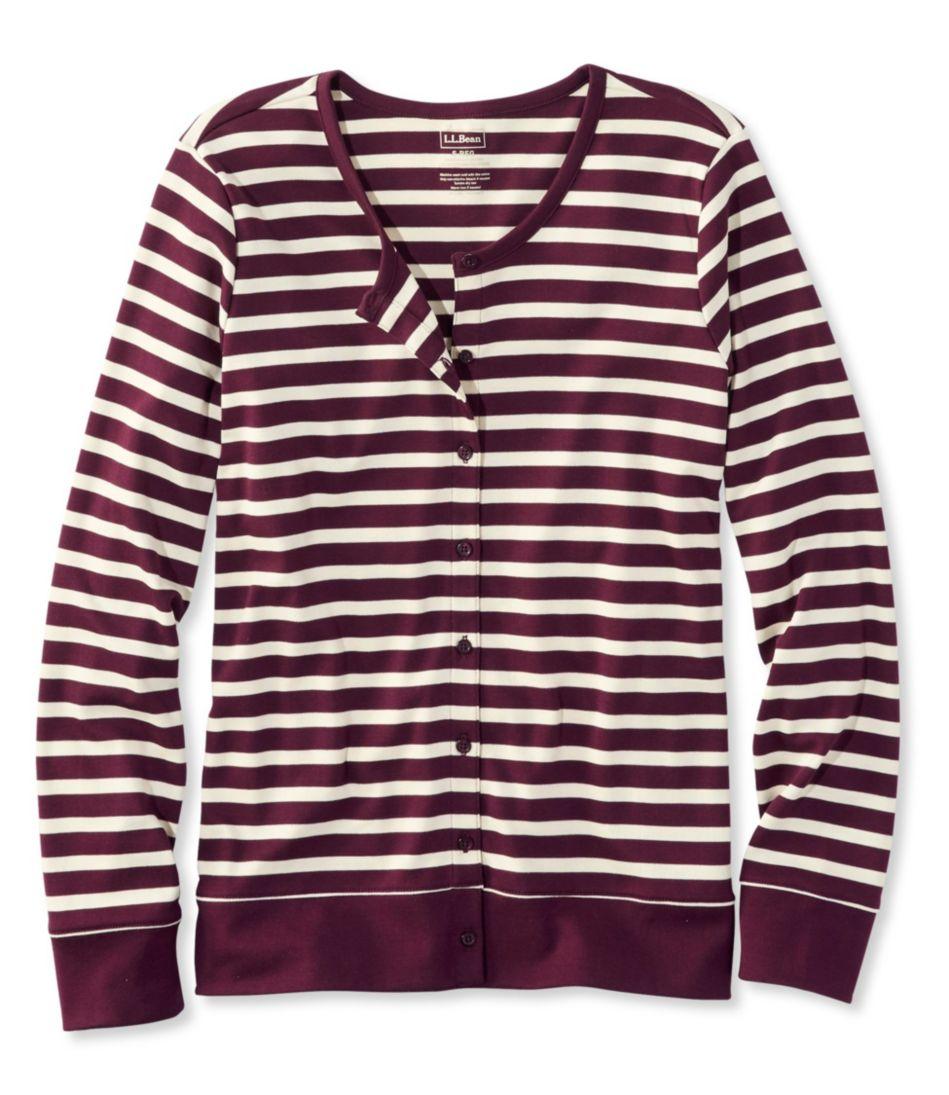 Pima Cotton Cardigan, Long-Sleeve Stripe