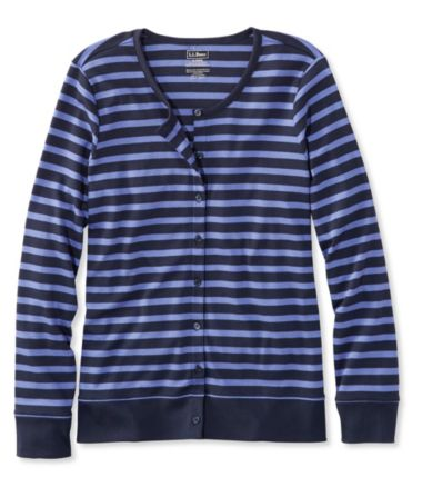 Pima Cotton Cardigan, Long-Sleeve Stripe