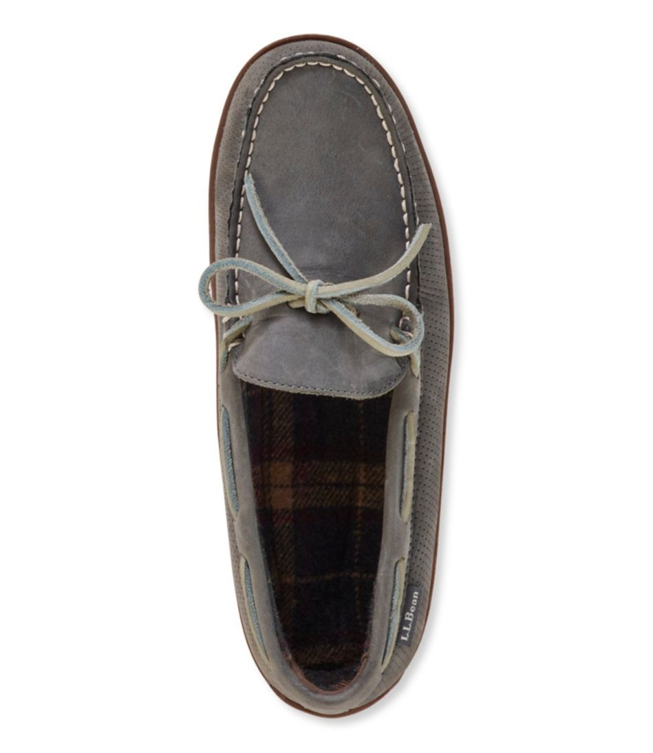 Men's Handsewn Slippers, Perforated Flannel-Lined