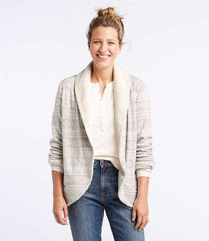 Women's Cozy Fleece Open Cardigan, Fair Isle | Free Shipping at ...