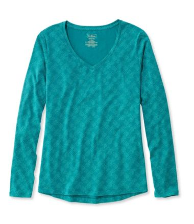 Super-Soft Shrink-Free V-Neck, Long-Sleeve Print