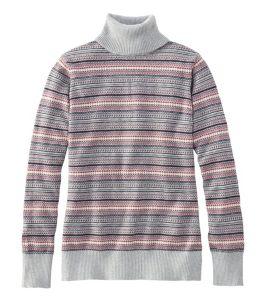 Women's Cotton/Cashmere Sweater, Fair Isle Turtleneck