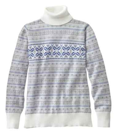 Women's Cotton/Cashmere Sweater, Fair Isle Turtleneck
