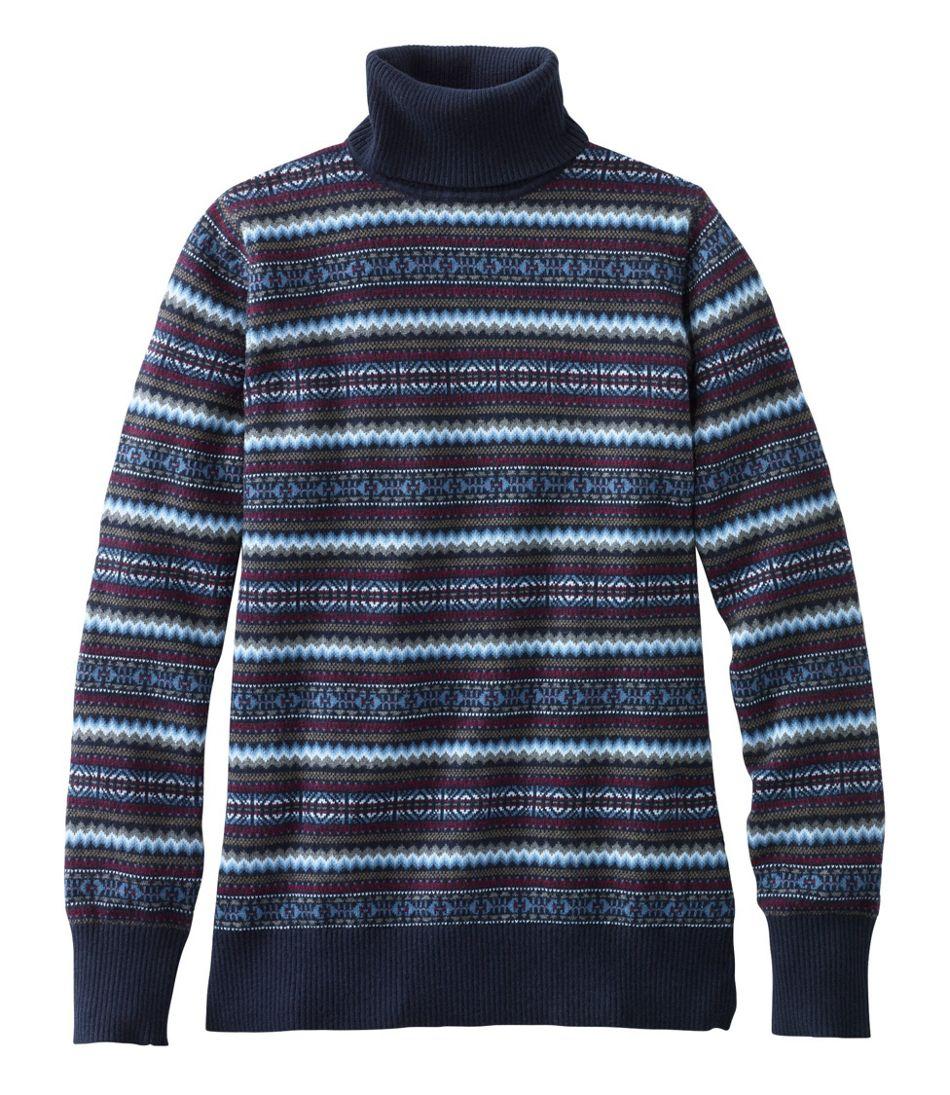 Cotton/Cashmere Sweater, Fair Isle Turtleneck