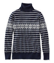 Cotton/Cashmere Sweater, Turtleneck Snowflake