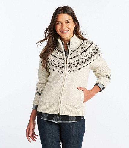 Women's L.L.Bean Classic Ragg Wool Sweater, Fair Isle Zip Cardigan ...