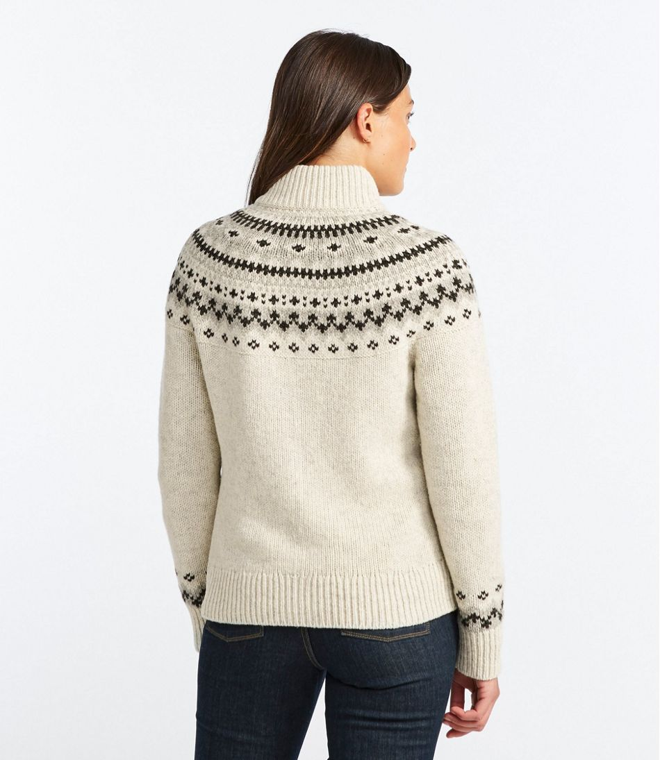 L.L.Bean Classic Ragg Wool Sweater, Fair Isle Cardigan