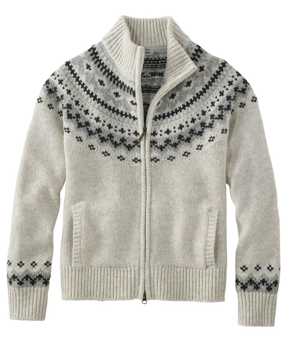 L.L.Bean Classic Ragg Wool Sweater, Fair Isle Cardigan