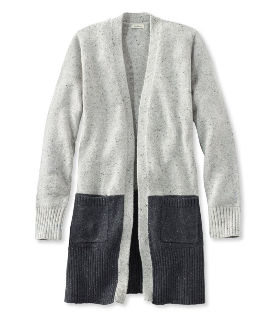 Donegal Sweater, Long Open Cardigan Colorblock