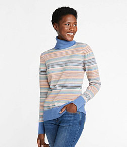 Women's Cotton/Cashmere Sweater, Turtleneck Stripe