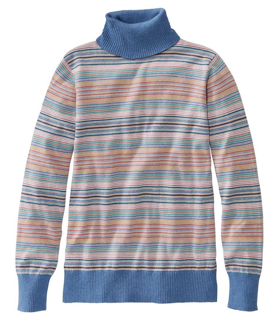 Women's Cotton/Cashmere Sweater, Turtleneck Stripe