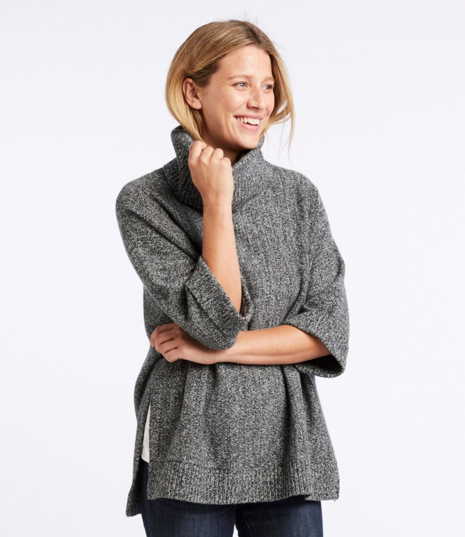 Merino-Blend Sweater Poncho, Cowlneck Marled