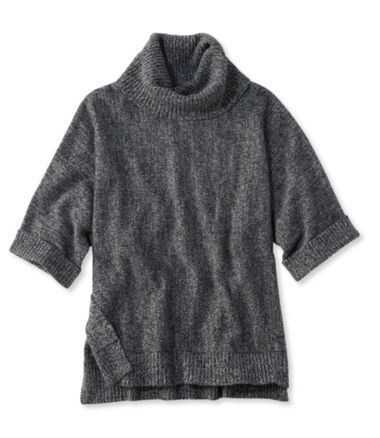 Merino-Blend Sweater Poncho, Cowlneck Marled