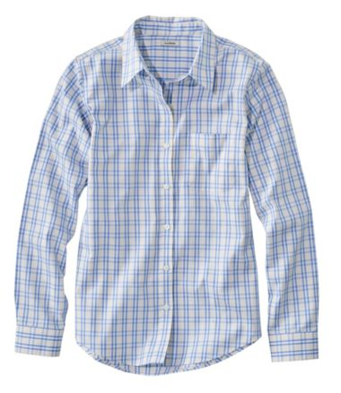 Wrinkle-Free Pinpoint Oxford Shirt, Long-Sleeve Relaxed Fit Plaid