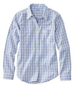 Women's Wrinkle-Free Pinpoint Oxford Shirt, Long-Sleeve Relaxed Fit Plaid