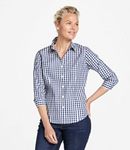 Wrinkle-Free Pinpoint Oxford Shirt, Three-Quarter-Sleeve Plaid
