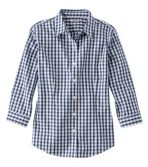 Women's Wrinkle-Free Pinpoint Oxford Shirt, Three-Quarter-Sleeve Slightly Fitted Plaid