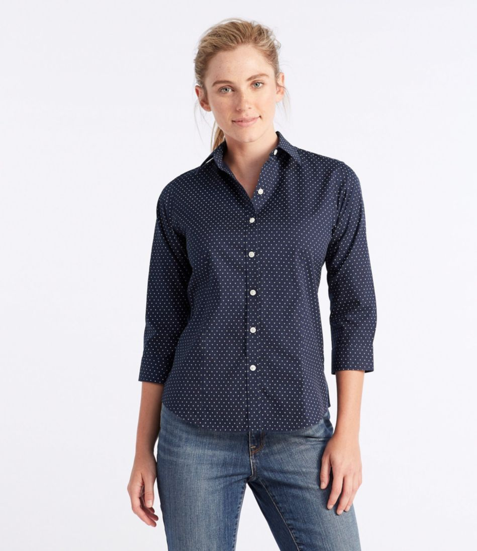 Wrinkle-Free Pinpoint Oxford Shirt, Three-Quarter-Sleeve Slightly Fitted Bird's-Eye