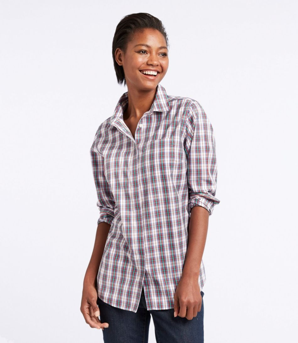 Wrinkle-Free Pinpoint Oxford Tunic, Long-Sleeve Slightly Fitted Plaid