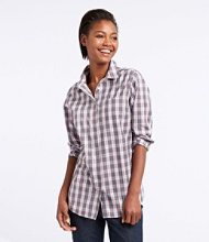 Wrinkle-Free Pinpoint Oxford Tunic, Long-Sleeve Plaid