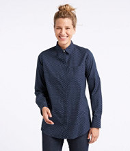 Wrinkle-Free Pinpoint Oxford Tunic, Long-Sleeve Slightly Fitted Bird's-Eye