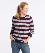 Double L Mixed-Cable Sweater, Crewneck Stripe