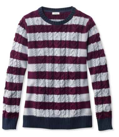 Double L® Mixed-Cable Sweater, Crewneck Stripe